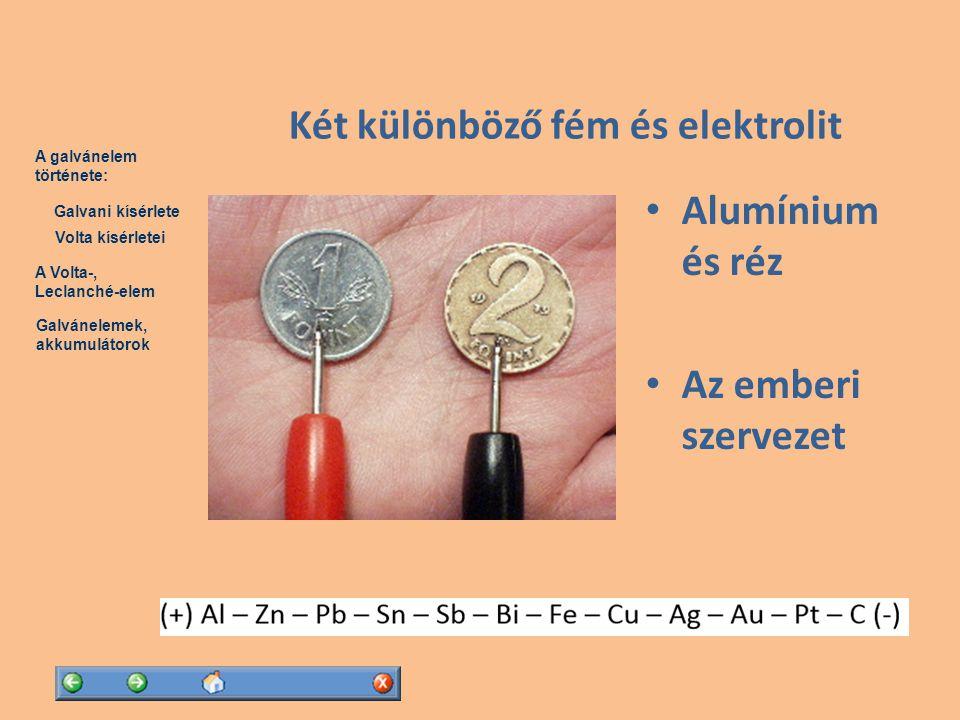 Két különböző fém és elektrolit
