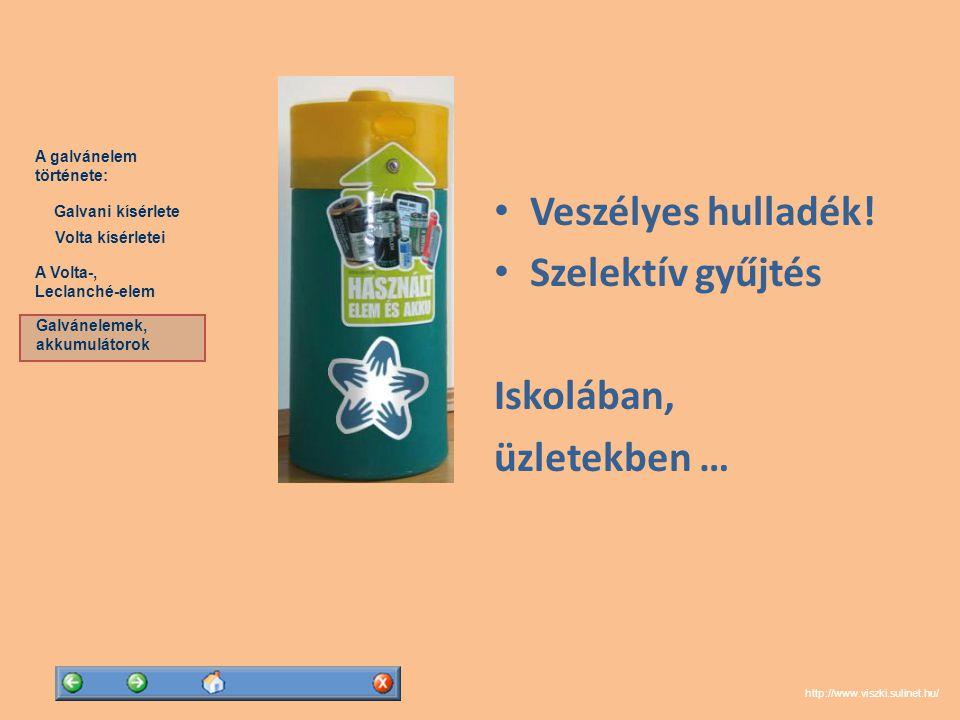 Veszélyes hulladék! Szelektív gyűjtés Iskolában, üzletekben …