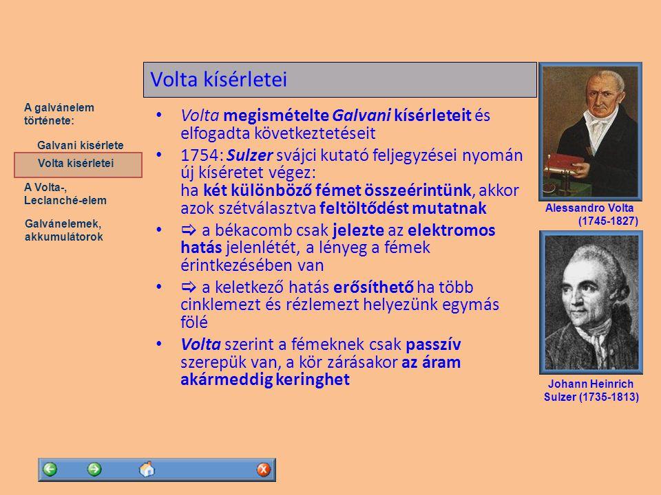 Volta kísérletei Volta megismételte Galvani kísérleteit és elfogadta következtetéseit.