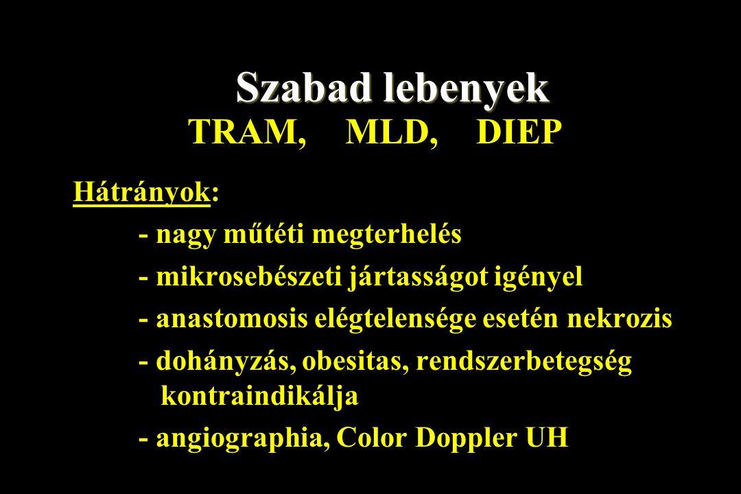 Szabad lebenyek TRAM, MLD, DIEP Hátrányok: - nagy műtéti megterhelés