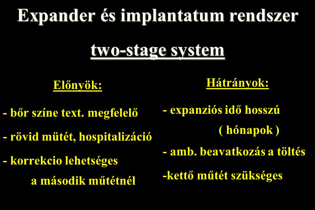 Expander és implantatum rendszer two-stage system