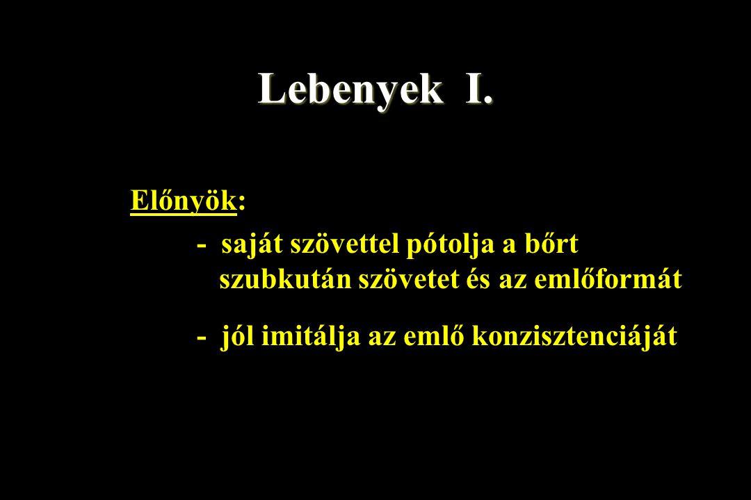 Lebenyek I. Előnyök: - saját szövettel pótolja a bőrt szubkután szövetet és az emlőformát.