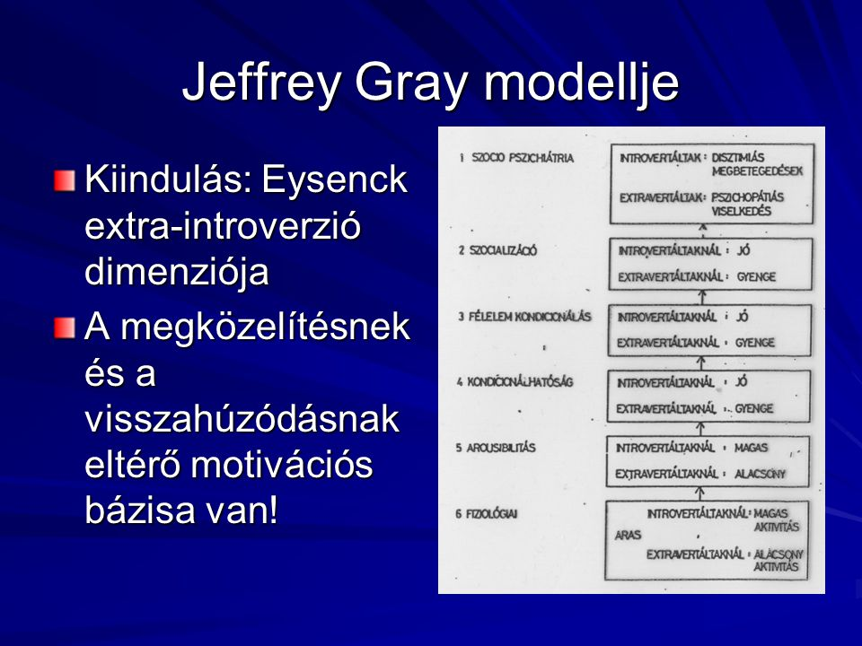 Jeffrey Gray modellje Kiindulás: Eysenck extra-introverzió dimenziója
