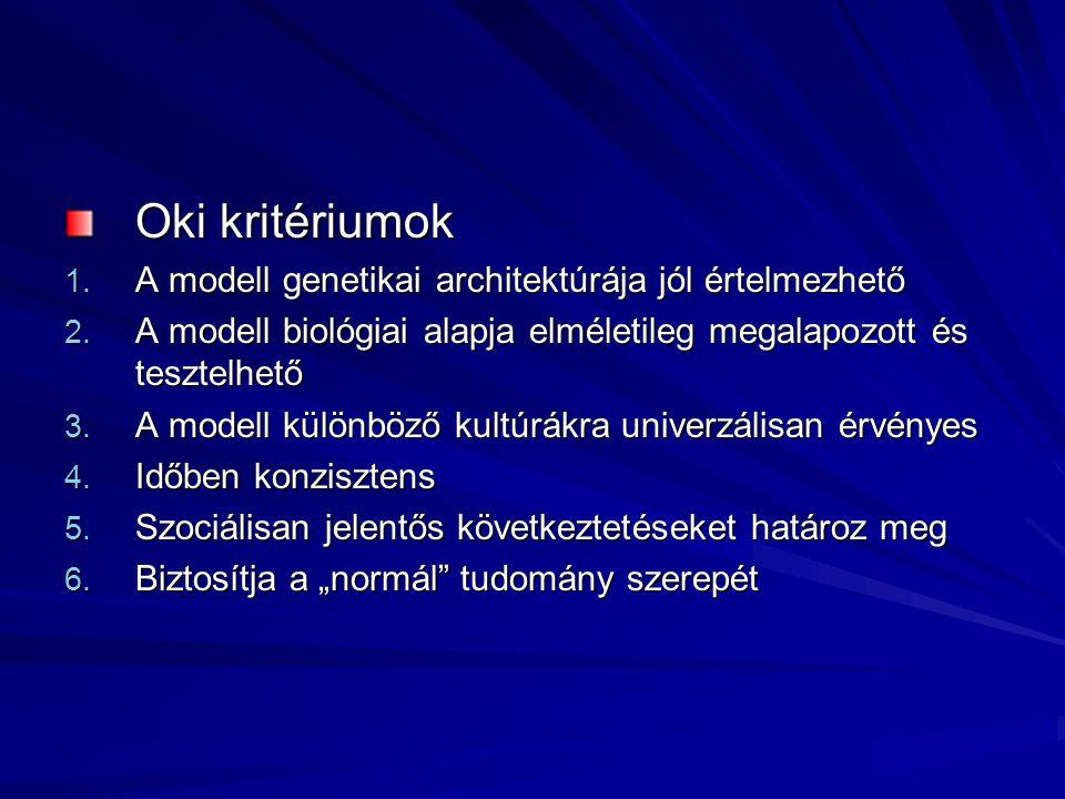 Oki kritériumok A modell genetikai architektúrája jól értelmezhető