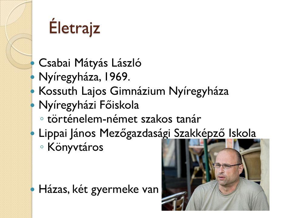 Életrajz Csabai Mátyás László Nyíregyháza, 1969.