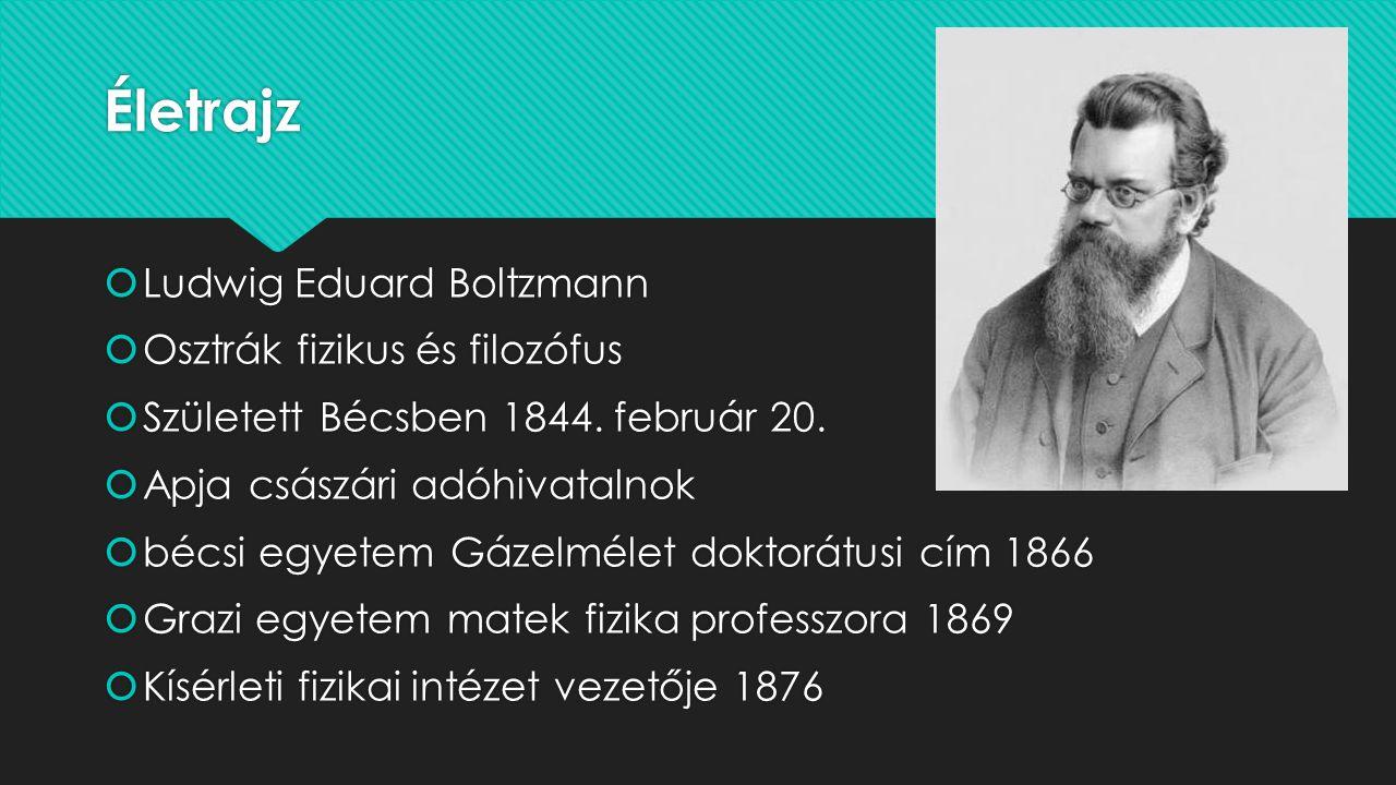 Életrajz Ludwig Eduard Boltzmann Osztrák fizikus és filozófus