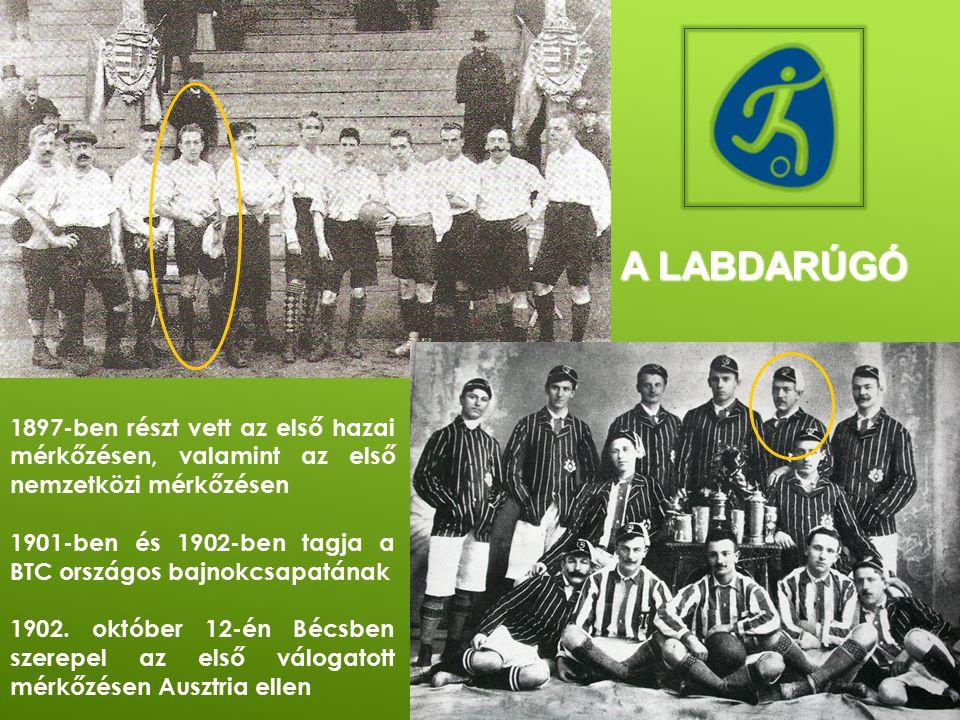 A labdarúgó 1897-ben részt vett az első hazai mérkőzésen, valamint az első nemzetközi mérkőzésen.