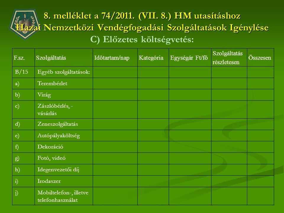 8. melléklet a 74/2011. (VII. 8.) HM utasításhoz Hazai Nemzetközi Vendégfogadási Szolgáltatások Igénylése C) Előzetes költségvetés:
