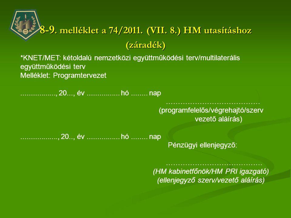 8-9. melléklet a 74/2011. (VII. 8.) HM utasításhoz (záradék)