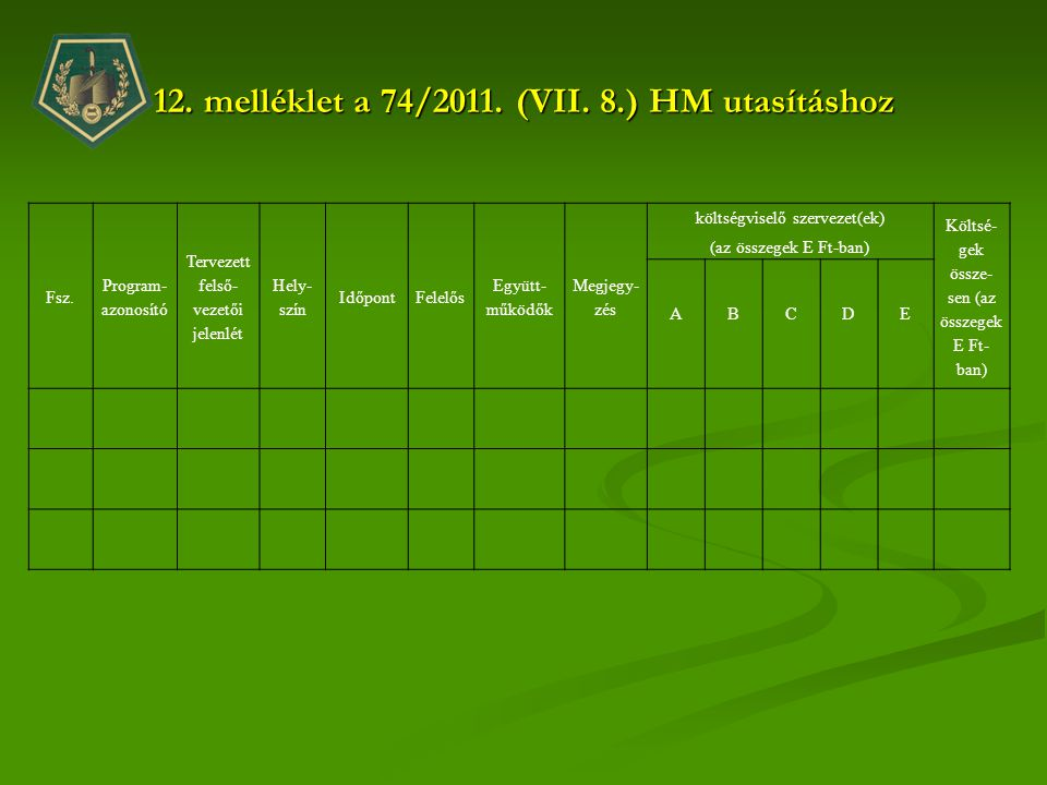 12. melléklet a 74/2011. (VII. 8.) HM utasításhoz