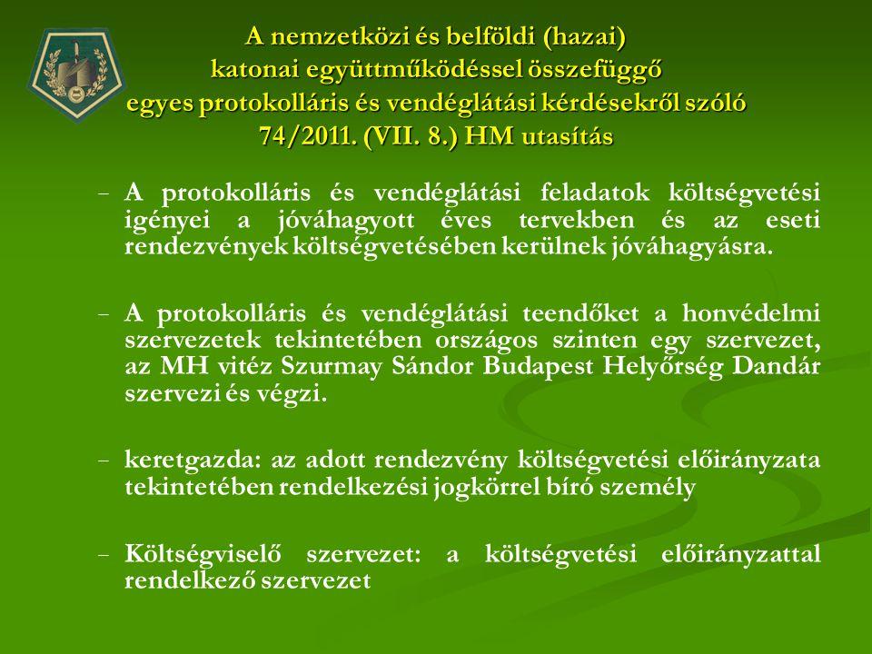 A nemzetközi és belföldi (hazai) katonai együttműködéssel összefüggő egyes protokolláris és vendéglátási kérdésekről szóló 74/2011. (VII. 8.) HM utasítás