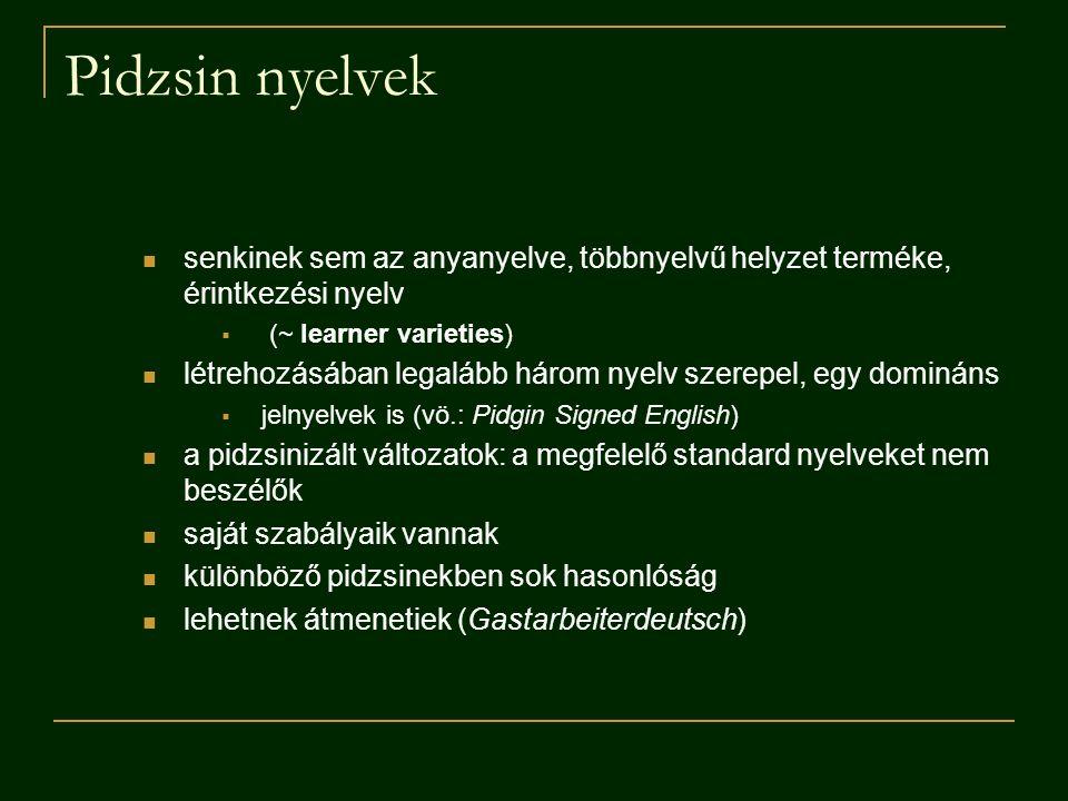 Pidzsin nyelvek senkinek sem az anyanyelve, többnyelvű helyzet terméke, érintkezési nyelv. (~ learner varieties)