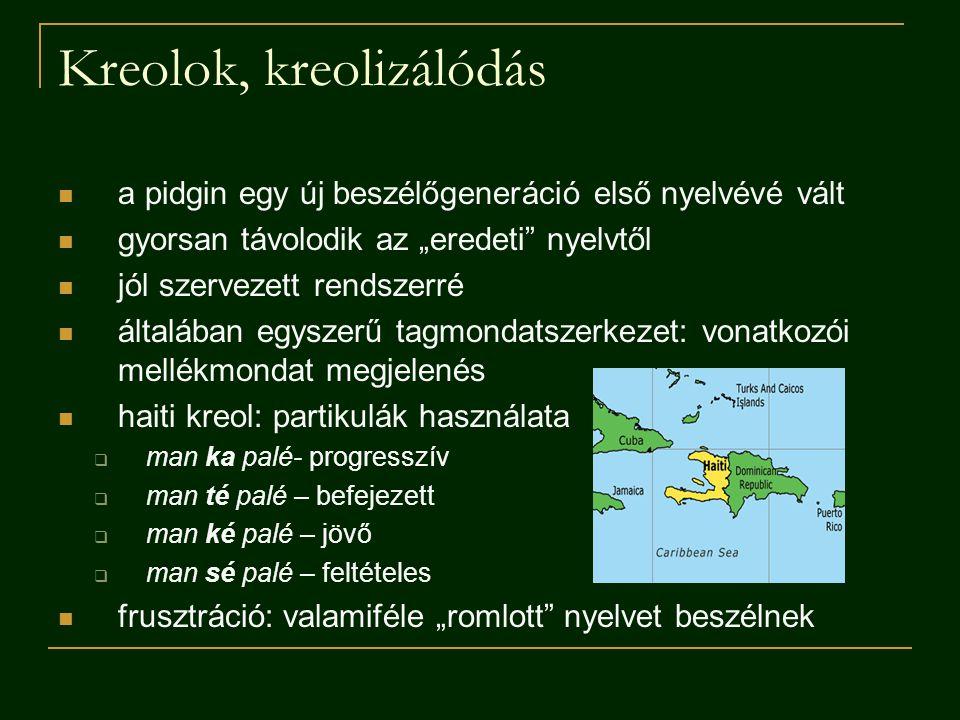 Kreolok, kreolizálódás
