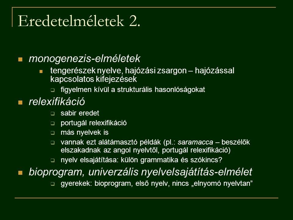 Eredetelméletek 2. monogenezis-elméletek relexifikáció