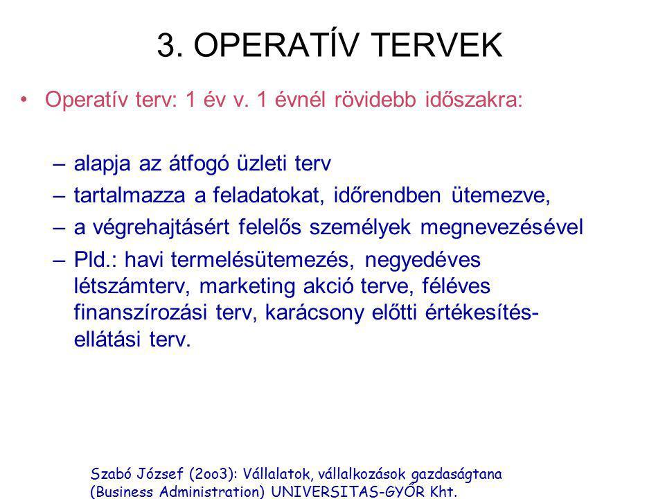 3. OPERATÍV TERVEK Operatív terv: 1 év v. 1 évnél rövidebb időszakra: