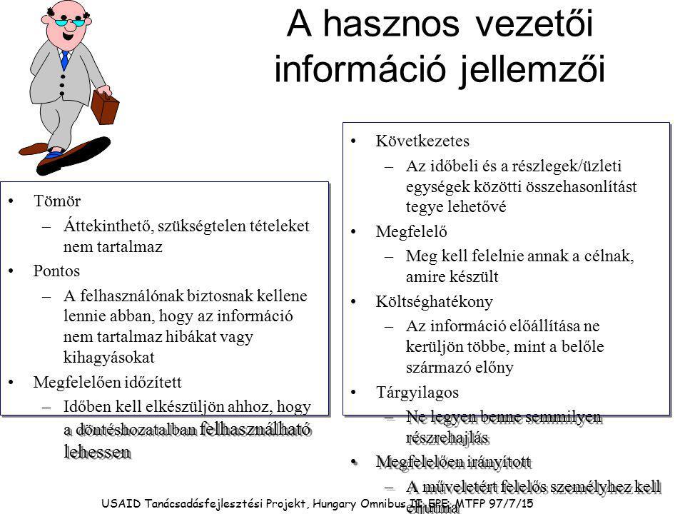 A hasznos vezetői információ jellemzői