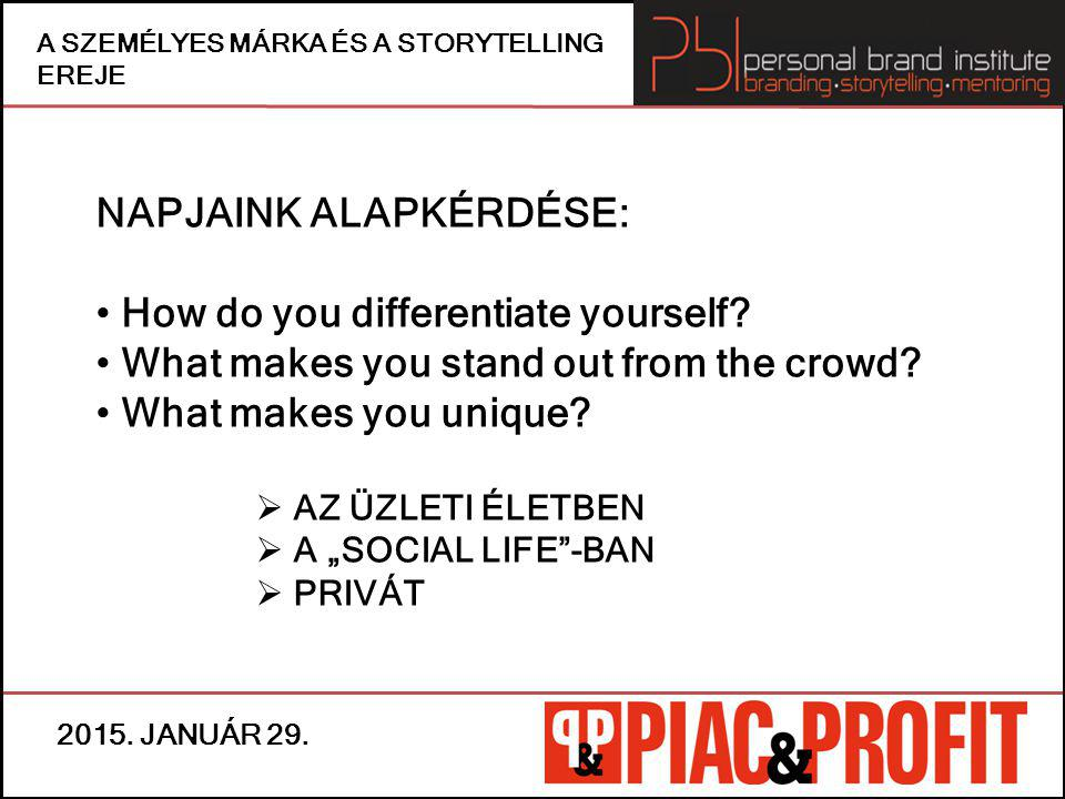 NAPJAINK ALAPKÉRDÉSE: How do you differentiate yourself
