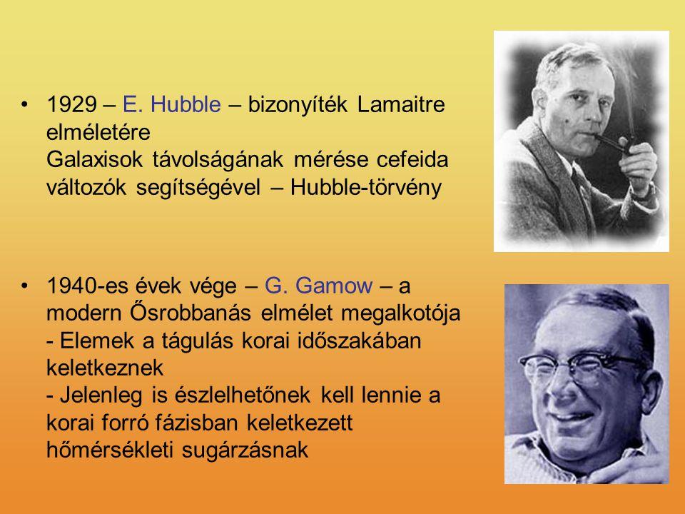 1929 – E. Hubble – bizonyíték Lamaitre elméletére Galaxisok távolságának mérése cefeida változók segítségével – Hubble-törvény