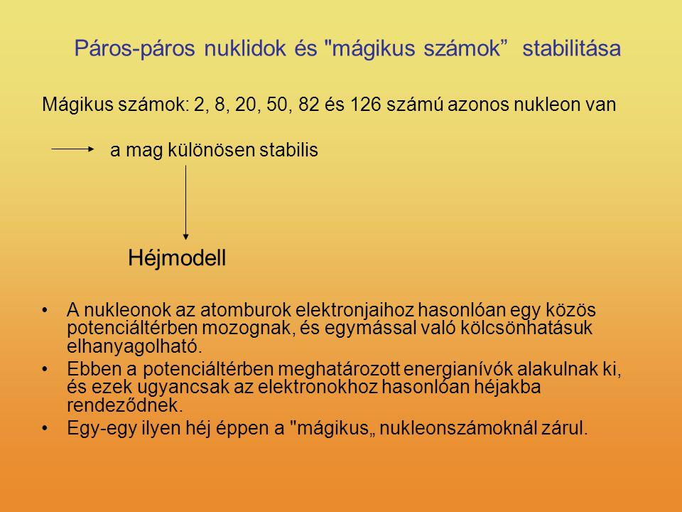 Páros-páros nuklidok és mágikus számok stabilitása