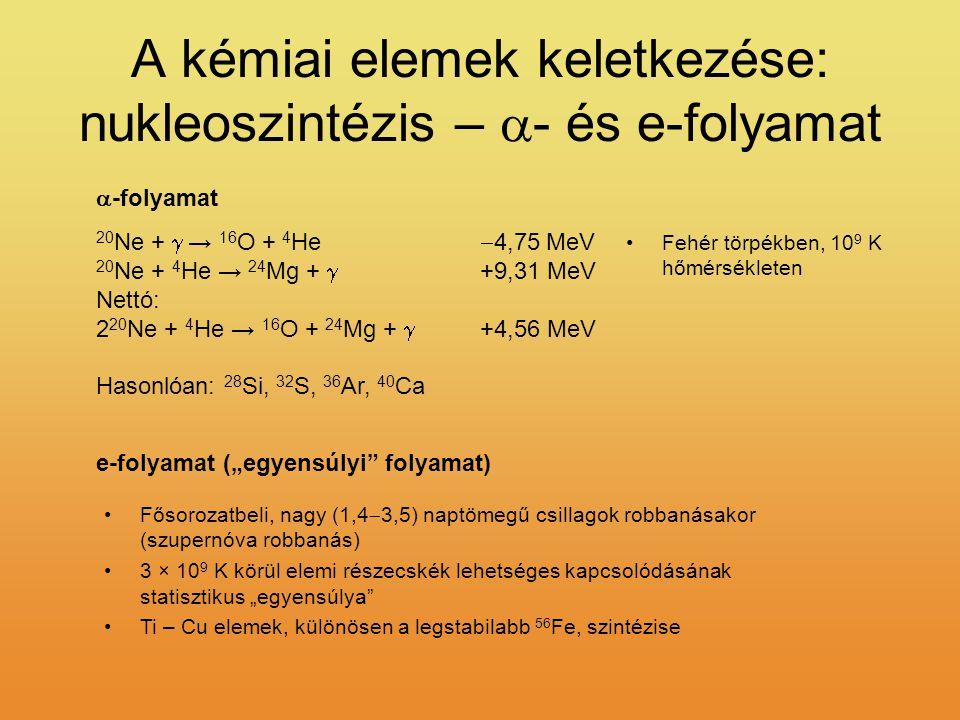A kémiai elemek keletkezése: nukleoszintézis – a- és e-folyamat