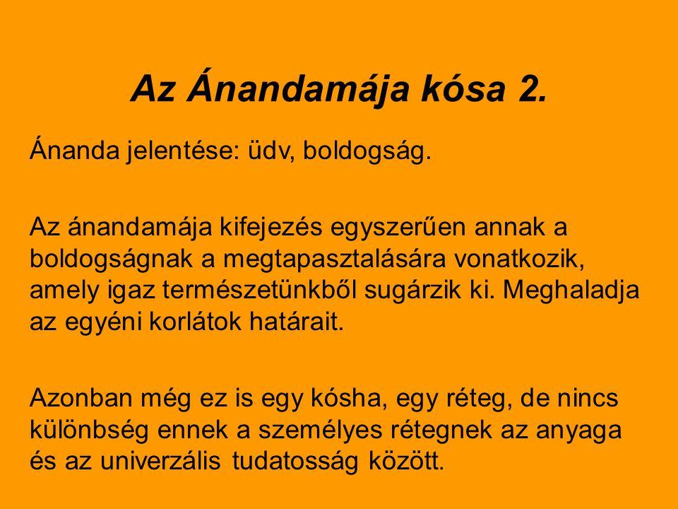 Az Ánandamája kósa 2. Ánanda jelentése: üdv, boldogság.
