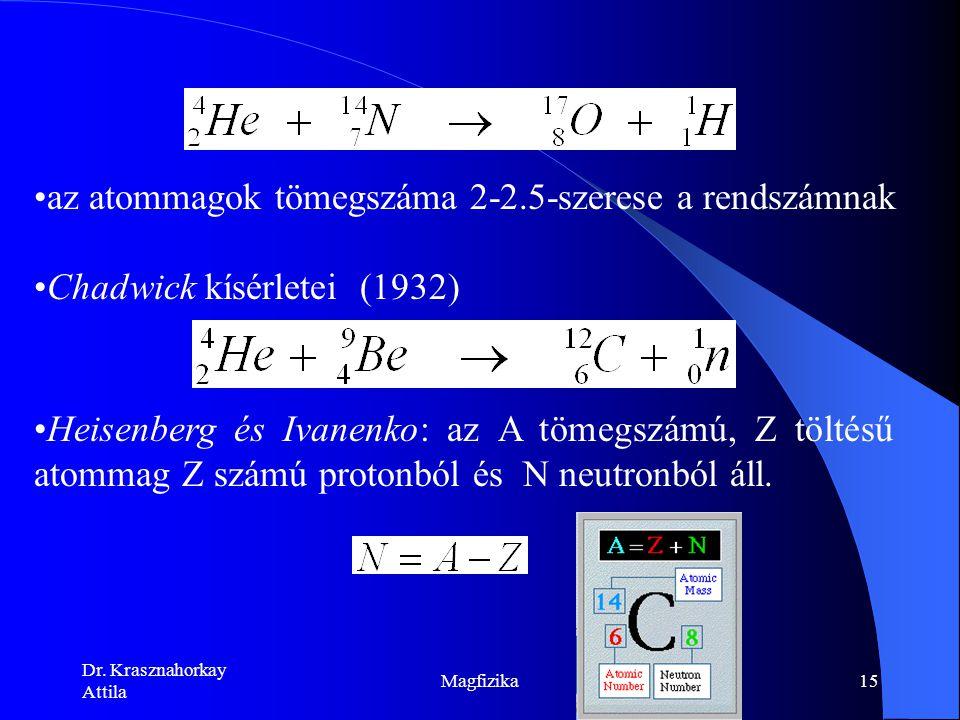 az atommagok tömegszáma 2‑2.5-szerese a rendszámnak