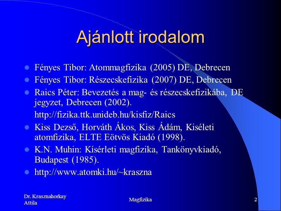 Ajánlott irodalom Fényes Tibor: Atommagfizika (2005) DE, Debrecen