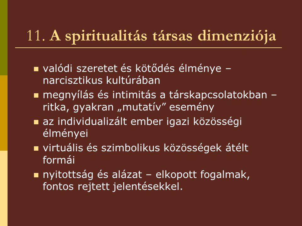 11. A spiritualitás társas dimenziója