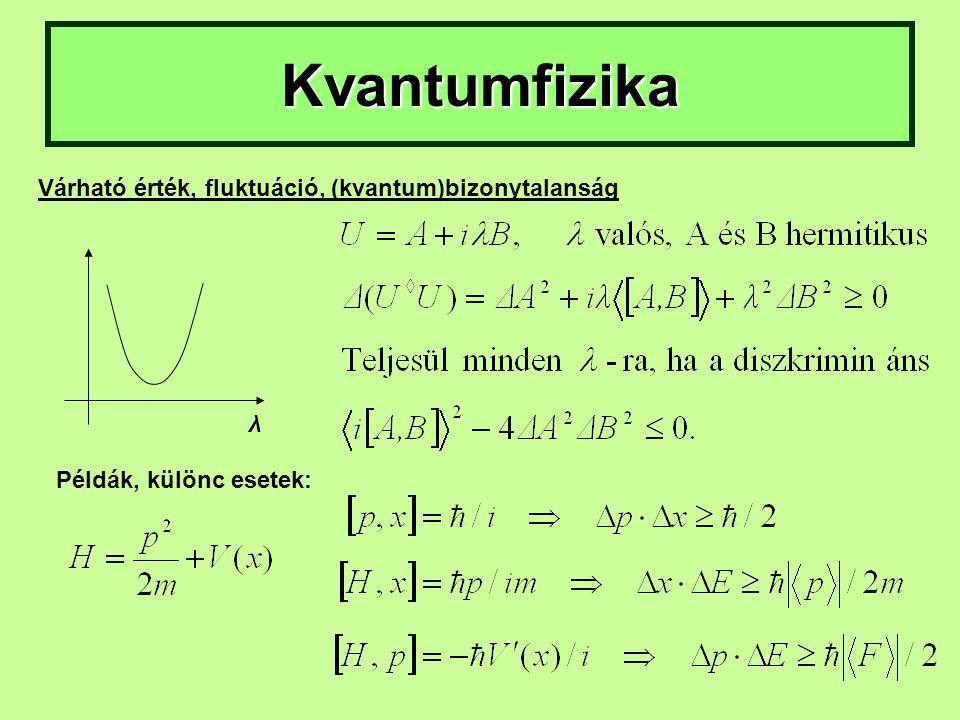 Kvantumfizika Várható érték, fluktuáció, (kvantum)bizonytalanság λ