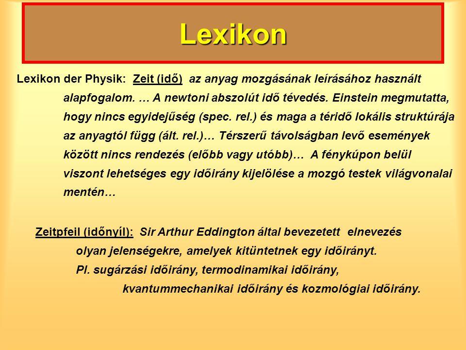 Lexikon Lexikon der Physik: Zeit (idő) az anyag mozgásának leírásához használt.