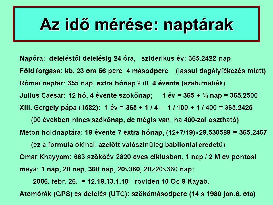 Az idő mérése: naptárak