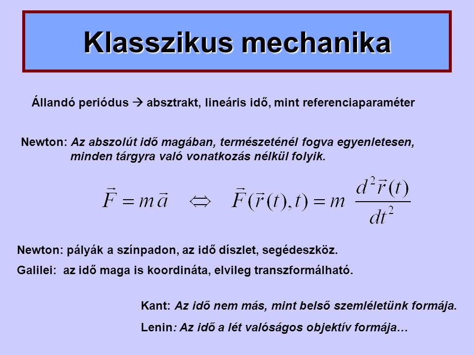 Klasszikus mechanika Állandó periódus  absztrakt, lineáris idő, mint referenciaparaméter.