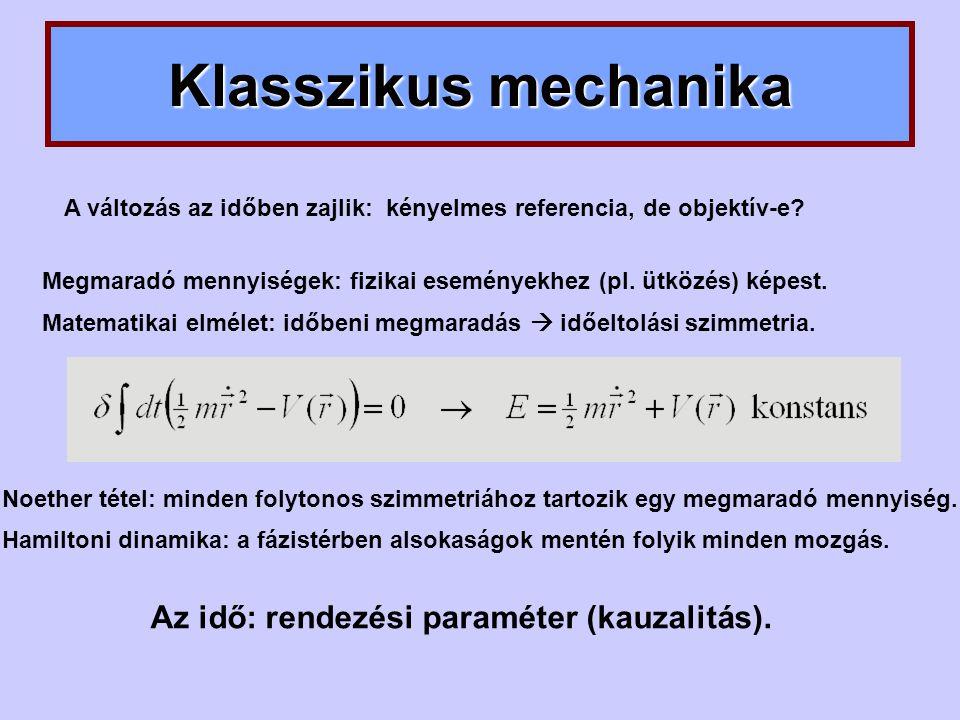 Klasszikus mechanika Az idő: rendezési paraméter (kauzalitás).