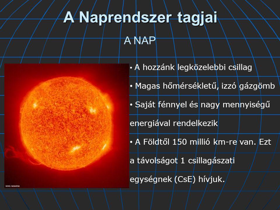 A Naprendszer tagjai A NAP Magas hőmérsékletű, izzó gázgömb