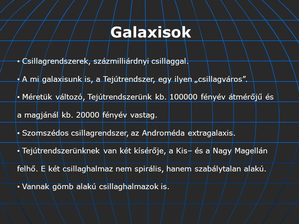 Galaxisok Csillagrendszerek, százmilliárdnyi csillaggal.