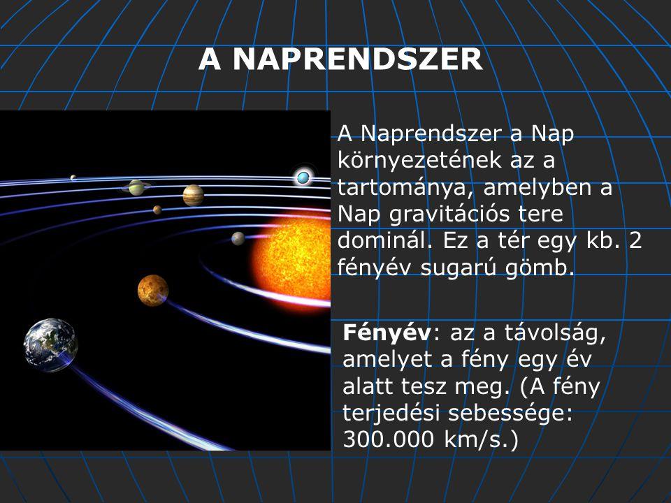 A NAPRENDSZER A Naprendszer a Nap környezetének az a tartománya, amelyben a Nap gravitációs tere dominál. Ez a tér egy kb. 2 fényév sugarú gömb.
