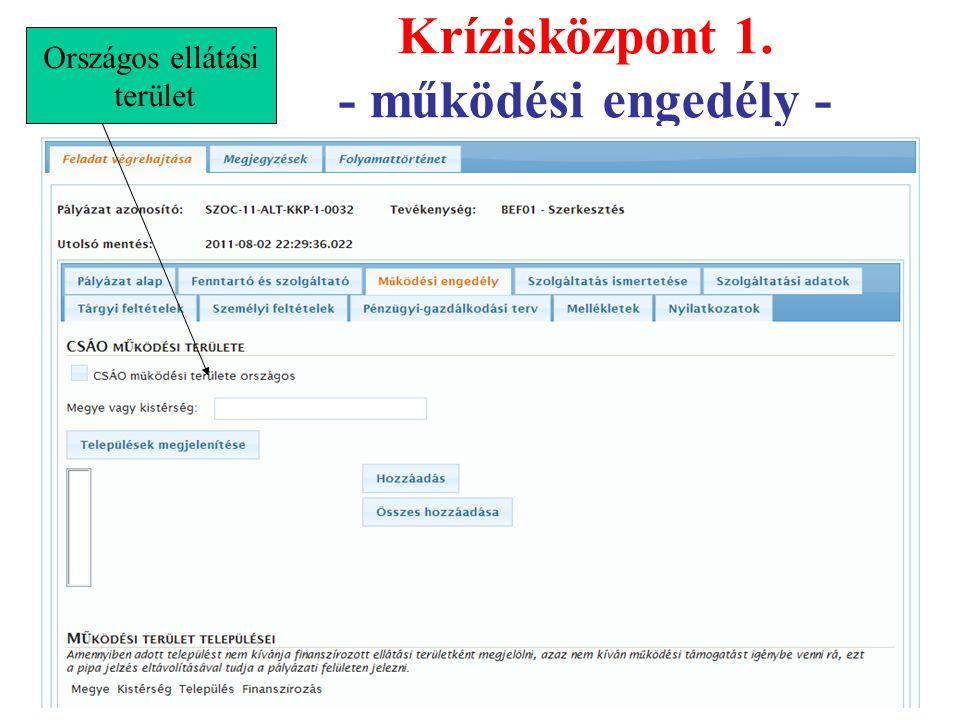Krízisközpont 1. - működési engedély -