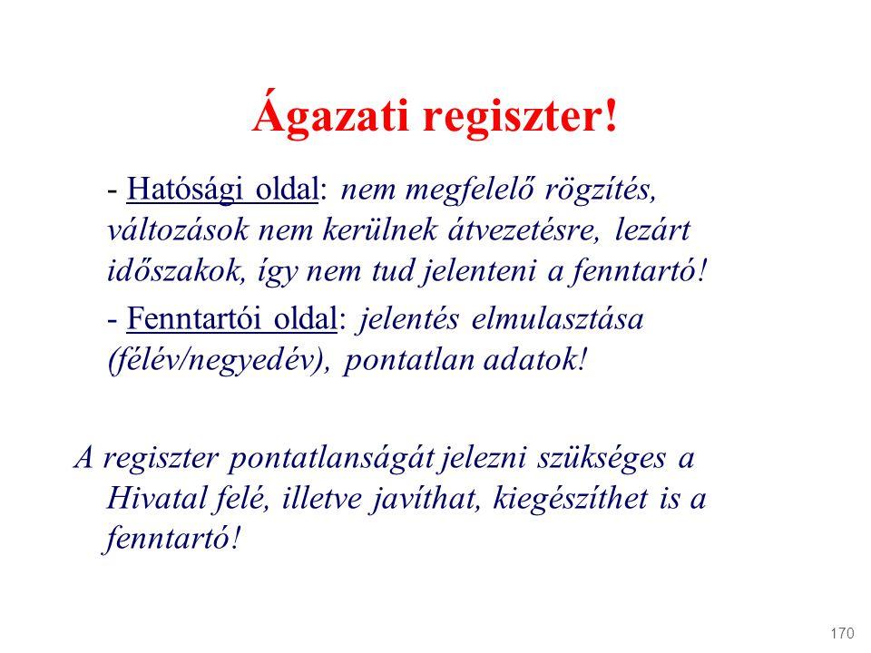 Ágazati regiszter!