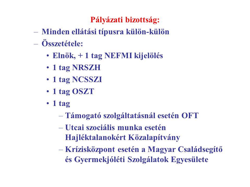 Pályázati bizottság: Minden ellátási típusra külön-külön. Összetétele: Elnök, + 1 tag NEFMI kijelölés.