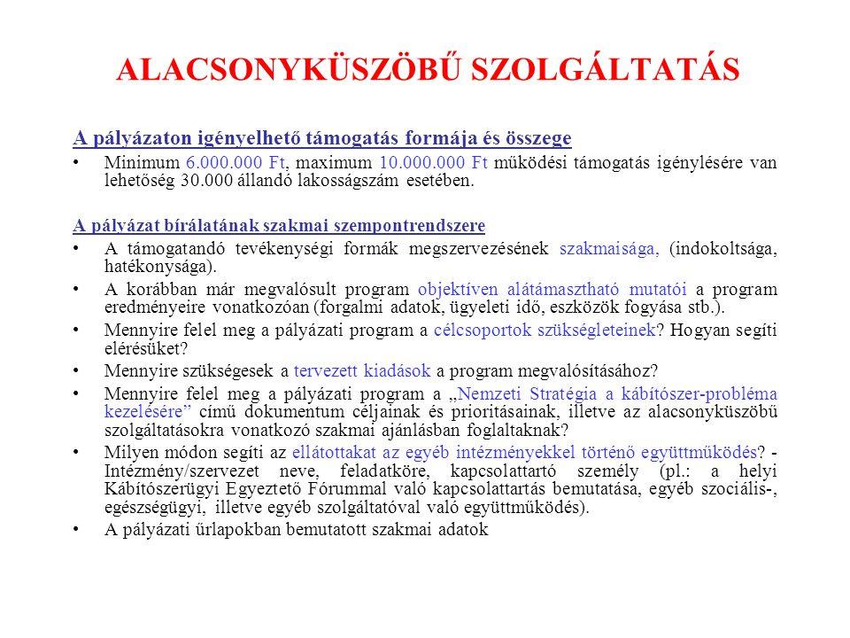 ALACSONYKÜSZÖBŰ SZOLGÁLTATÁS