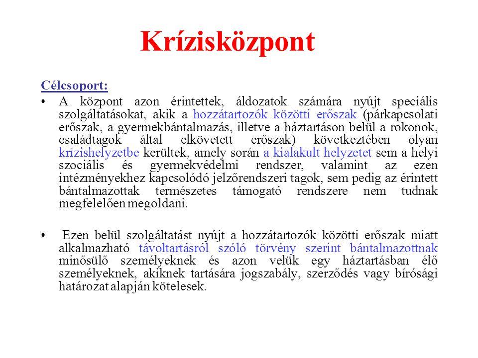 Krízisközpont Célcsoport: