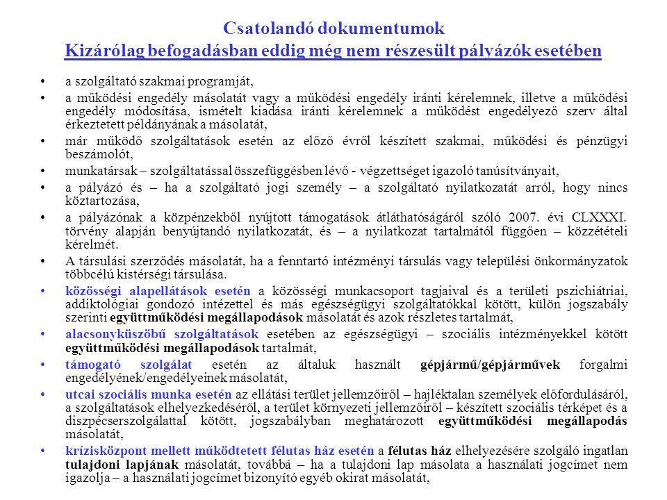 Csatolandó dokumentumok Kizárólag befogadásban eddig még nem részesült pályázók esetében