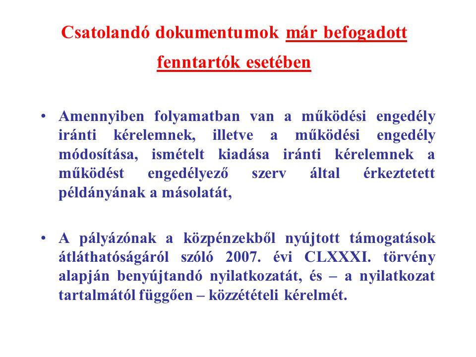 Csatolandó dokumentumok már befogadott fenntartók esetében