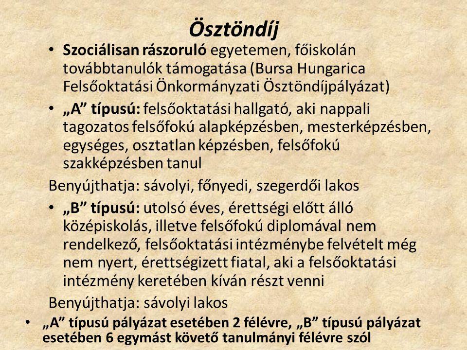 Ösztöndíj Szociálisan rászoruló egyetemen, főiskolán továbbtanulók támogatása (Bursa Hungarica Felsőoktatási Önkormányzati Ösztöndíjpályázat)