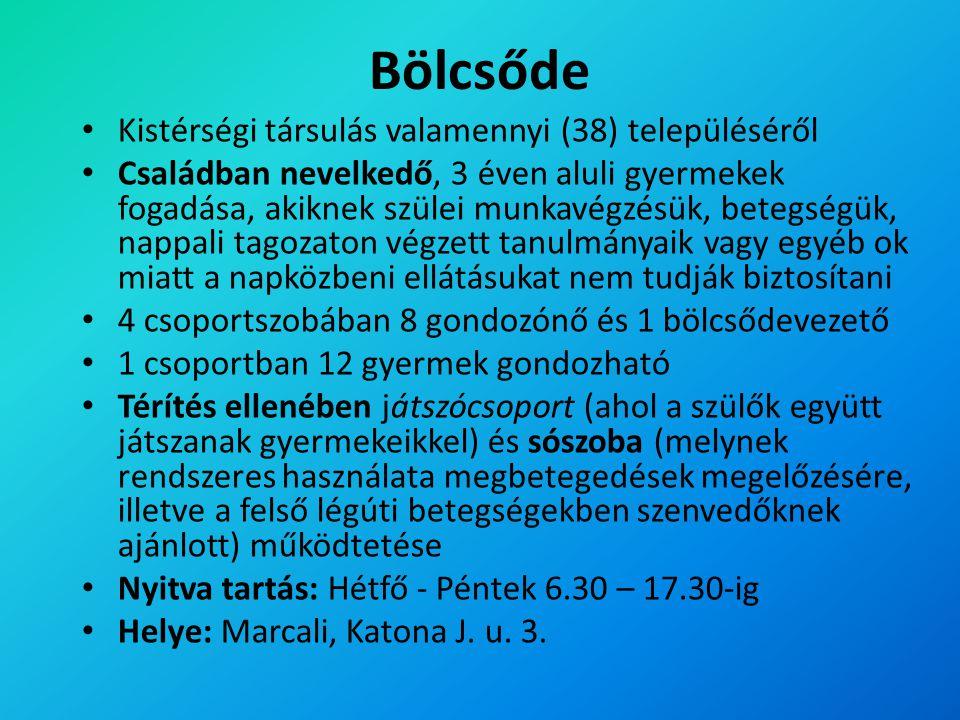 Bölcsőde Kistérségi társulás valamennyi (38) településéről