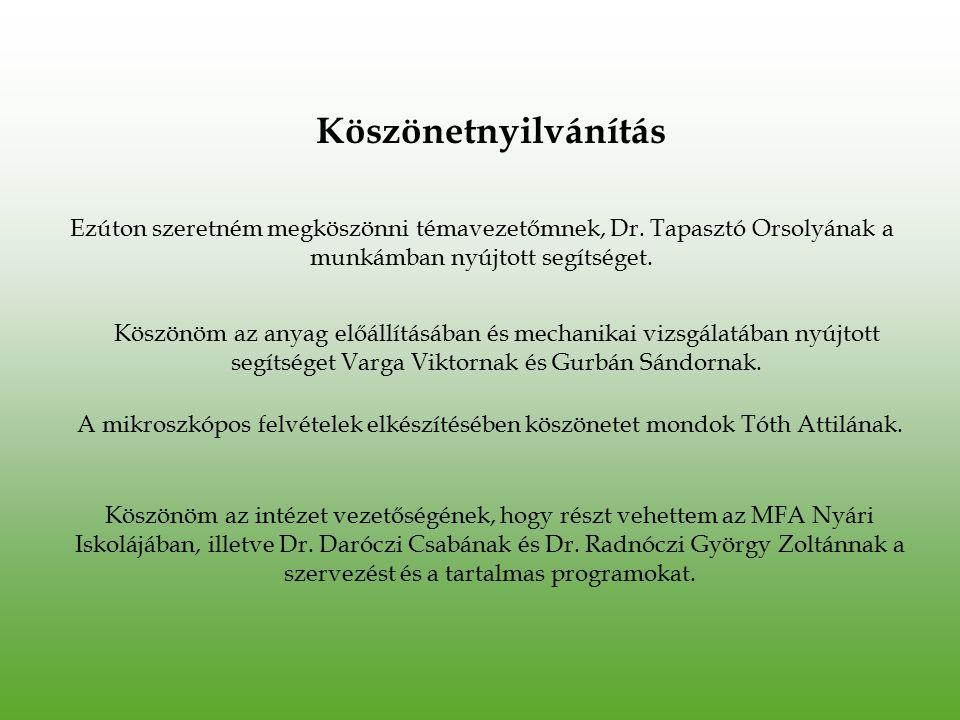 Köszönetnyilvánítás Ezúton szeretném megköszönni témavezetőmnek, Dr. Tapasztó Orsolyának a munkámban nyújtott segítséget.