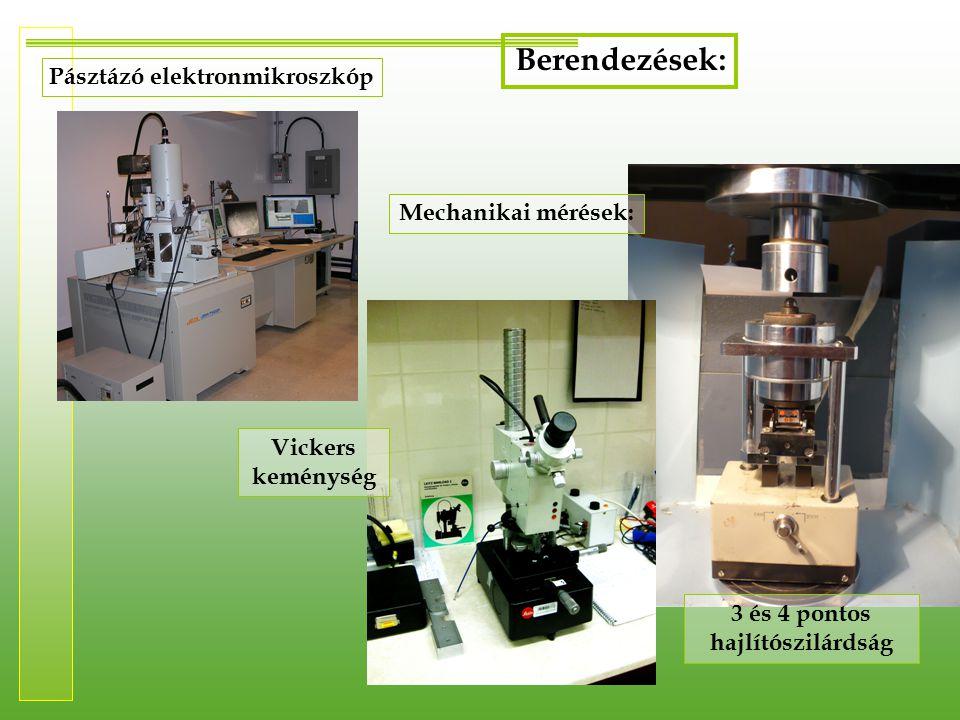 Pásztázó elektronmikroszkóp 3 és 4 pontos hajlítószilárdság