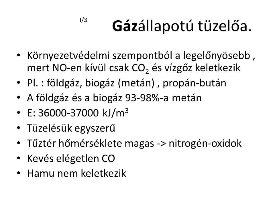 Gázállapotú tüzelőa. I/3. Környezetvédelmi szempontból a legelőnyösebb , mert NO-en kívül csak CO2 és vízgőz keletkezik.