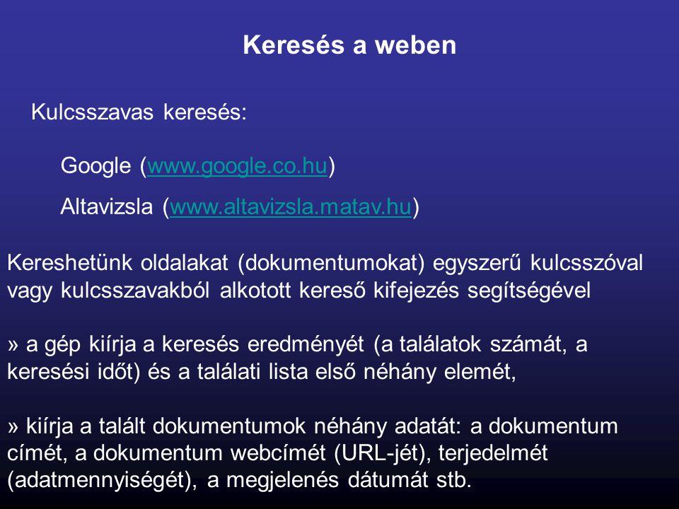 Keresés a weben Kulcsszavas keresés: Google (www.google.co.hu)