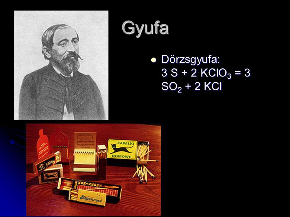 Gyufa Dörzsgyufa: 3 S + 2 KClO3 = 3 SO2 + 2 KCl